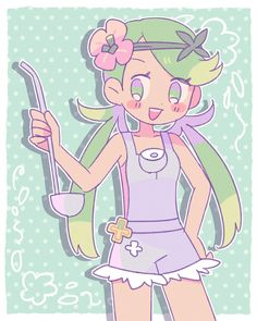 Pokemon Mallow, Pokemon Moon And Sun, Pokemon People, Gym Leaders, Pokemon Pictures, Cool Girl, Kawaii, Pokemon Stuff, Artist