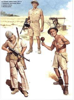 Australian Army - 9th Division, Middle East - 1. Infantryman, Patrol dress, Tobruk -2. Corporal, Infantry - 3. Machine Gunner