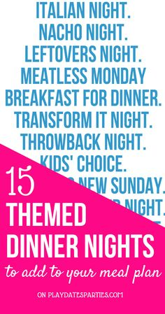 these 3 awesome tips and 15 fun dinner night themes you will NEVER be bored with your meal plan again! Click through to get the whole list! Weekly Menu Planning, Family Meal Planning, Budget Meal Planning, Budget Meals, Family Meals, Budget Recipes, Frugal Meals, Group Meals, Freezer Meals