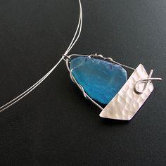 #Sailboat pendant necklace sky blue agate stone by emmanuelaGR, $39.00
