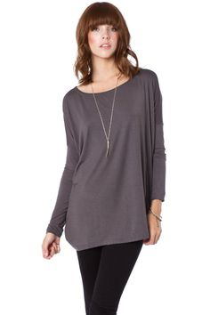 ShopSosie Style : Cozy Long Sleeve Top in Slate