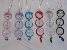 I ADORE THESE, CAN'T WAIT FOR MY GRANDDAUGHTERS TO GET THEIRS ON CHRISTMAS  Snowman Bottlecap Christmas Ornament Great by FeedYourNeedDesigns, $2.50