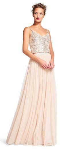 Adrianna Papell | Sequin Tank Top Dress Set with Chiffon Skirt
