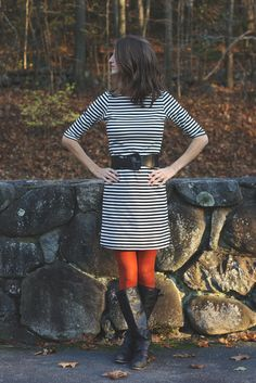 striped dress, colored tights.