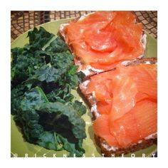 Cottage cheese and fresh salmon on Ezekiel Bread with a side of Organic Kale!