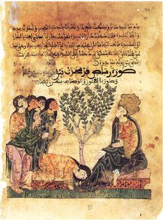 Image of Bayad lying, passed out, on the bank of the river and image of the young relative of the Old who stops beside his companion and gives a funeral eulogy, both located in front of one of the gardens of the River Tartar