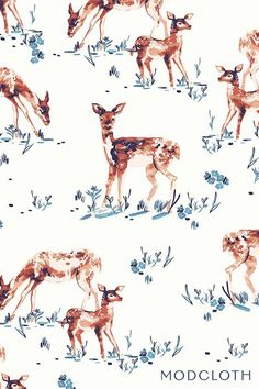 deer, modcloth, watercolour, nature, illustration, art, design, drawing, pattern
