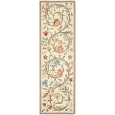 @Overstock - Hand-hooked Garden Scrolls Ivory Wool Rug (2'6 x 12') - This hand-hooked contemporary design features timeless looks from a pure virgin wool pile providing comfort and softness to the touch made from an all-natural material.  http://www.overstock.com/Home-Garden/Hand-hooked-Garden-Scrolls-Ivory-Wool-Rug-26-x-12/6971356/product.html?CID=214117 $111.67