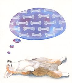 Corgi Dreams - Archival Print of Original Watercolor Painting - Love this pin from #etsy. Hysterical (and very cute).