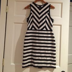 Loft Petite Mixed Stripe Dress Wonderful black and white striped dress. Never worn. NWT. Fabric has some stretch. Great with or without jacket! ALL OFFERS CONSIDERED! LOFT Dresses