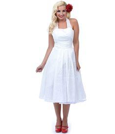 1950s style wedding dress - Unique Vintage Off White Cotton Eyelet Flirty Halter Swing Dress