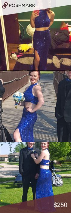 Sequins blue two piece prom dress Size zero worn once tons of compliments. BEAUTIFUL Dresses Prom