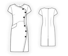 Dress With Decorative Closure  - Sewing Pattern #4342. Made-to-measure sewing pattern from Lekala with free online download. Fitted, Darts, Pleats, Buttoned, Jewel neck, Stand collar, Long sleeves, Set-in sleeves, Cuff sleeves.