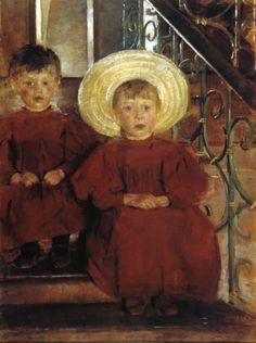 Olga Boznanska - Portrait of Two Children on the Stairs, 1898