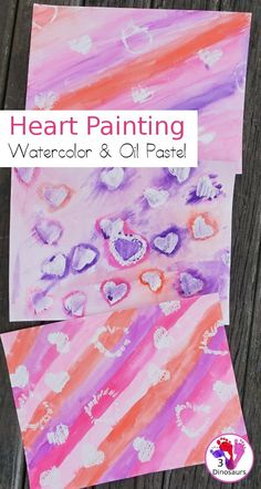 Oil Pastel and & Watercolor Heart Painting, Watercolor Heart, Pastel Watercolor, Watercolor Paintings, Art Activities For Toddlers, Painting Activities, Fun Arts And Crafts, Fun Crafts For Kids, Heart Painting, Painting For Kids