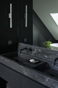 Apartment Interior In Vilnius Old Town - Picture gallery Rustic Bathrooms, Modern Bathroom, Master Bathroom, Black Bathroom Sink, Dark Bathrooms, Bathroom Rules, Modern Powder Rooms, Home Remodel Costs, Toilet Design