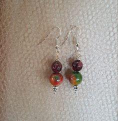 Hand Wrapped Berry Colored Jasper Beads, Green and Orange Jasper Beads, Small Silver Beads Dangle Earrings, stocking stuffer by MamaPajamaJan on Etsy