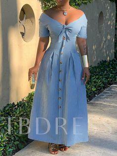 Short Sleeve V-Neck Button Stripe Women's Maxi Dress