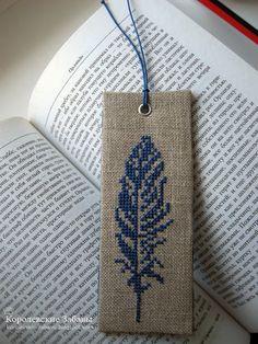 Закладка для книги с вышивкой по принципу пинкипа.
