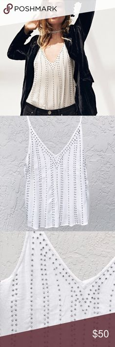 FREE PEOPLE BB Embellished Camisole Adorable and brand new, silver beaded accents Free People Tops Tank Tops