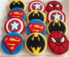 Super Hero Cookies (batman, Spider-Man and captain America) Superman Birthday, Avengers Birthday, Superhero Birthday Party, Boy Birthday, Cookies For Kids, Fun Cookies, Cupcake Cookies, Superhero Cookies, Superhero Cake