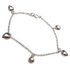 Puffed Heart Charm Bracelet Link Sterling Silver Love b863s
