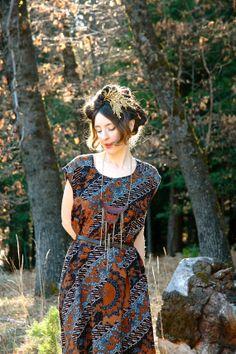 Size Large... Batik Maxidress... Indonesian Maxi Dress... by AstralBoutique, $38.00