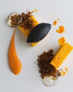 Gâteau à la carotte, sorbet olive noire