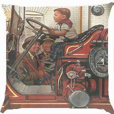 "Retro vintage boy drive fireman firefighter car Cushion Cover Throw Pillow 18"""