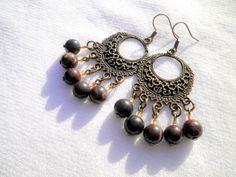 Bloodstone Jasper Round Earrings from juta ehted - my jewelry shop by DaWanda.com