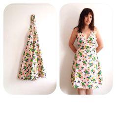 Halter neck Dress 70s floral Vintage handmade by superqueenieretro,