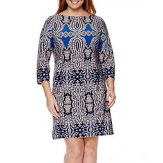 jcpenney.com | London Style Collection Long-Sleeve Print Sheath Dress - Plus