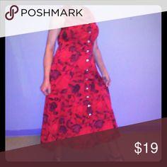 Red Vintage Dress Red Vintage Dress A Line Skirt Button up Front '80's Vintage Dress 24/7 Comfort Apparel Dresses Midi