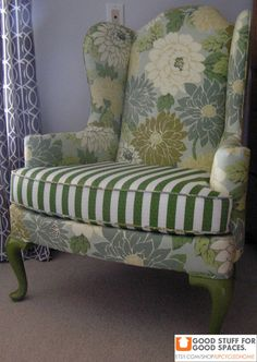 Oooh, I like this old lady chair! Vintage Wingback Chair Reupholstered in Flowered by UpcycledHome, $650.00