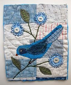 blue bird and flowers quilt square