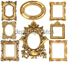 Baroque style antique golden frames Graphics Golden frames isolated on white background. Scrap by LiliGraphie Gold Picture Frames, Vintage Picture Frames, Wedding Mirror, Wedding Decor, Empty Frames, Baroque Fashion, Background Vintage, Photoshop Design, Design Elements