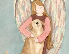 Black lab Labrador Retriever with angel / Lynch door watercolorqueen