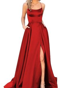 A-Line Red Prom Dresses Satin Fashion Dress Cheap 2019 Evening Dress Long Party Gowns - Prom dresses/hoco dresses - Everything is Here Prom Dresses With Pockets, Straps Prom Dresses, Black Prom Dresses, Cheap Prom Dresses, Prom Party Dresses, Sexy Dresses, Fashion Dresses, Red Satin Prom Dress, Dance Dresses