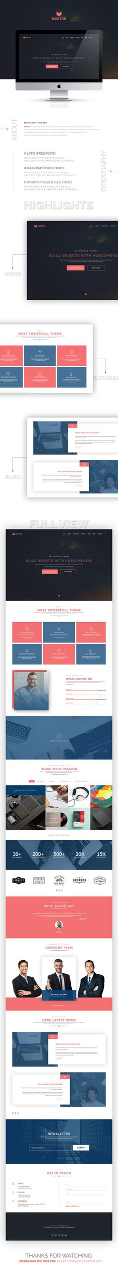 Freebie - Mostok One Page Agency Template on Behance
