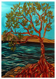 Arbutus Tree Arbutus afternoon greeting card by Artist April Lacheur