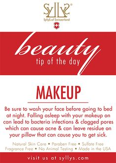Always remove your makeup before going to bed!