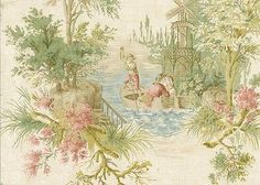 Charming European Scenic Toile Wallpaper – D. Toile Wallpaper, Victorian Wallpaper, Wallpaper Samples, Maroon Bedroom, Ephemeral Art, World Of Interiors, Draped Fabric, Vintage Ephemera, Color Of The Year