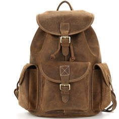 Vintage crazy horse leather oak brown backpack ($189) ❤ liked on Polyvore featuring bags, backpacks, leather satchel handbags, leather satchel, vintage leather backpack, vintage backpacks and genuine leather backpack