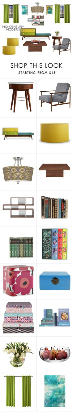 """Clean Spaces: Mid-Century Modern"" by greerisahomo ❤ liked on Polyvore featuring interior, interiors, interior design, home, home decor, interior decorating, Pottery Barn, Jonathan Adler, Blu Dot and Giclee Gallery"