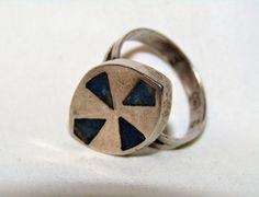 Unique Designer Estate Vintage Natural Lapis 925 Sterling Silver Ring Sz 7.7 #Band