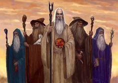 """Dibujado representación de los cinco Istari ( magos ) de la Tierra Media , con Gandalf y Saruman aparece como lo hicieron en las películas , y los otros dibujado a mirar """" película -esque """""""