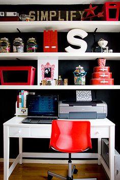 home office idea Home Office, Red Office, Office Decor, Office Ideas, Closet Office, Office Style, Sweet Home, White Shelves, Floating Shelves