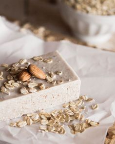 Easy Homemade Oatmeal Almond Soap at Chasing Delicious. Homemade by @Russell van Kraayenburg.