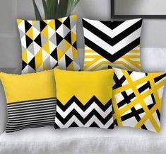 Black & Yellow Satin Printed Digital Design Decorative Sofa Cushion Cover Pack of 5 Takiya Cover, Cu