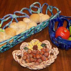 Weiß gewebt Keramik Schale Obst Schale-Brot